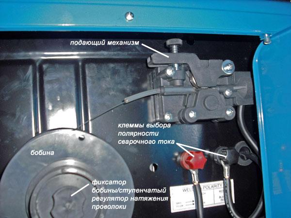Подающий механизм и бобина полуавтомата Блю Велд 4.135. Фото от Николая Селиванова.