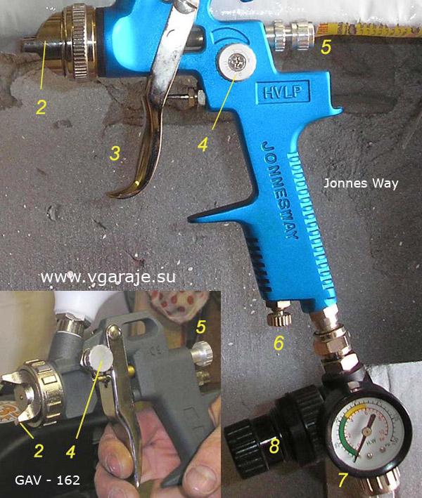 Ещё один вариант расположения регулировок: на распылителе Jonnes Way HVLP и на бытовом GAV - 162