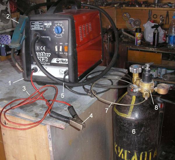 Сварочный пост гаражника: 1 - полуавтомат, 2 - горелка, 3,4 – провод массы с зажимом, 5 – подводящий шланг, 6 – баллон с СО2, 7 – трубка подвода СО2 к полуавтомату, 8 - редуктор.