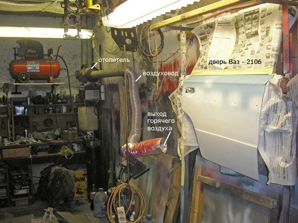 Сушка жидкой шпатлёвки на двери Ваз - 2106 горячим воздухом из отопителя ОВ65
