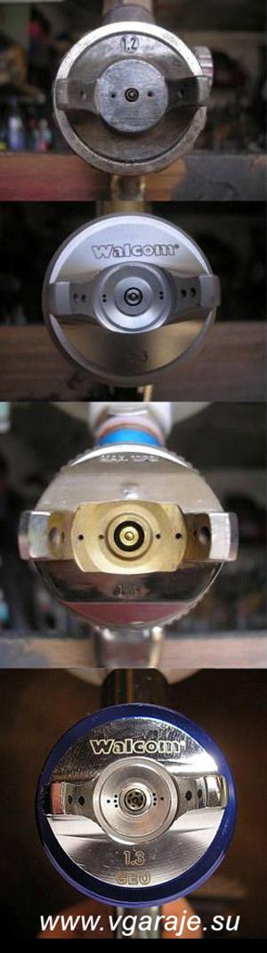 Типы распылителей: вверху - GAV - 162 НР, затем Walcom Slim HP, Jonnes Way HVLP, в самом низу - монстр GEO двойного распыления от Walcom